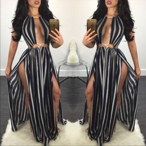 Dresses & Skirts - Striped maxi dress with slits